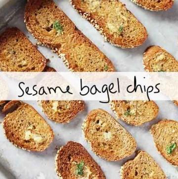 sesame bagel chips