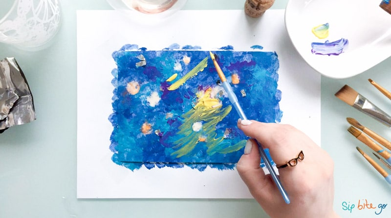 diy art with yellow strokes