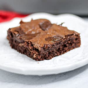close up of gooey chewy fudge brownies made from scratch