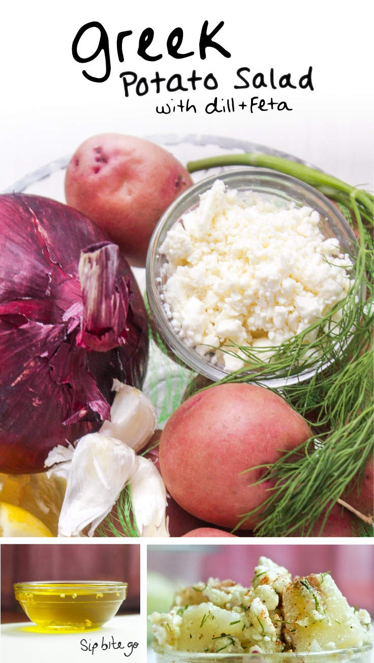 An easy Greek Red Potato Salad recipe with no mayo, feta and dill via sipbitego.com