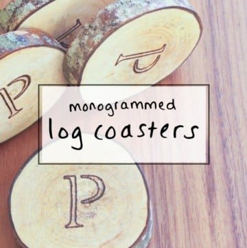 Monogrammed log coasters - a creative wedding gift idea for the bride and groom who has everything.