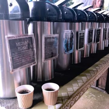Samples of some of the best hawaiian coffee at Greenwell Kona Coffee Tour on the Big Island