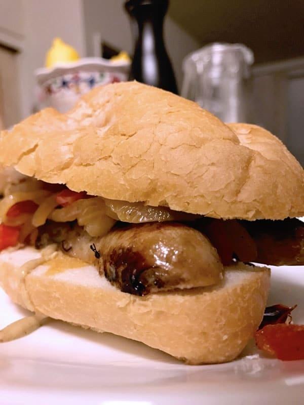 Sous vide sausage peppers onions sandwich hoagie 2-min