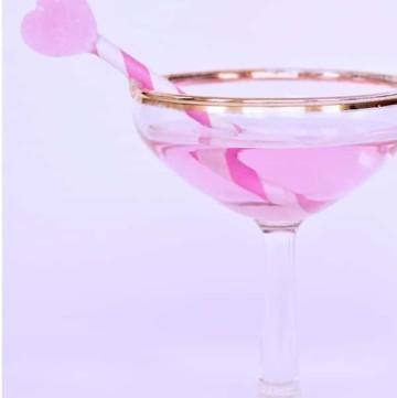 rose gold corkscrews martini glass pink