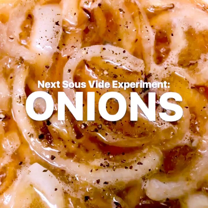 Text overlay on close-up shot of sliced onions