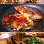 Step by step photos showing how to make sous vide chicken with text overlay.