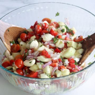 party size bowl of best caprese salad recipe with mozzarella balls