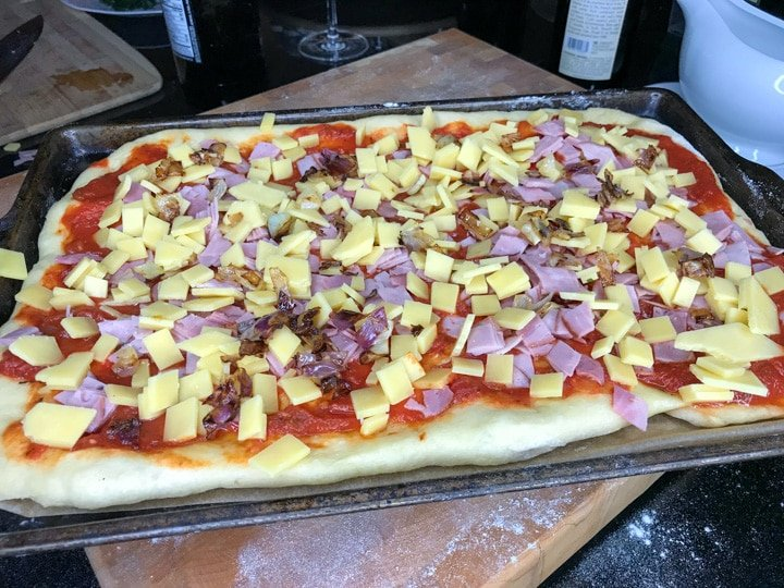 homemade pizza in the oven