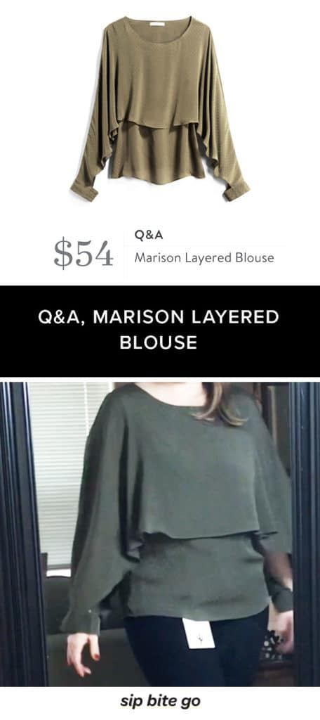 Stitch Fix Winter date night top by Q&A - Marison Layered Blouse in green olive long sleeves ruffles