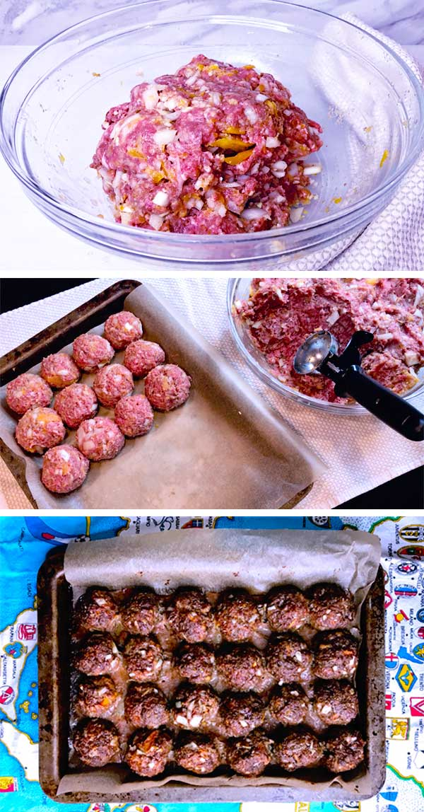 Step by step images showing how to make BBQ meatballs.