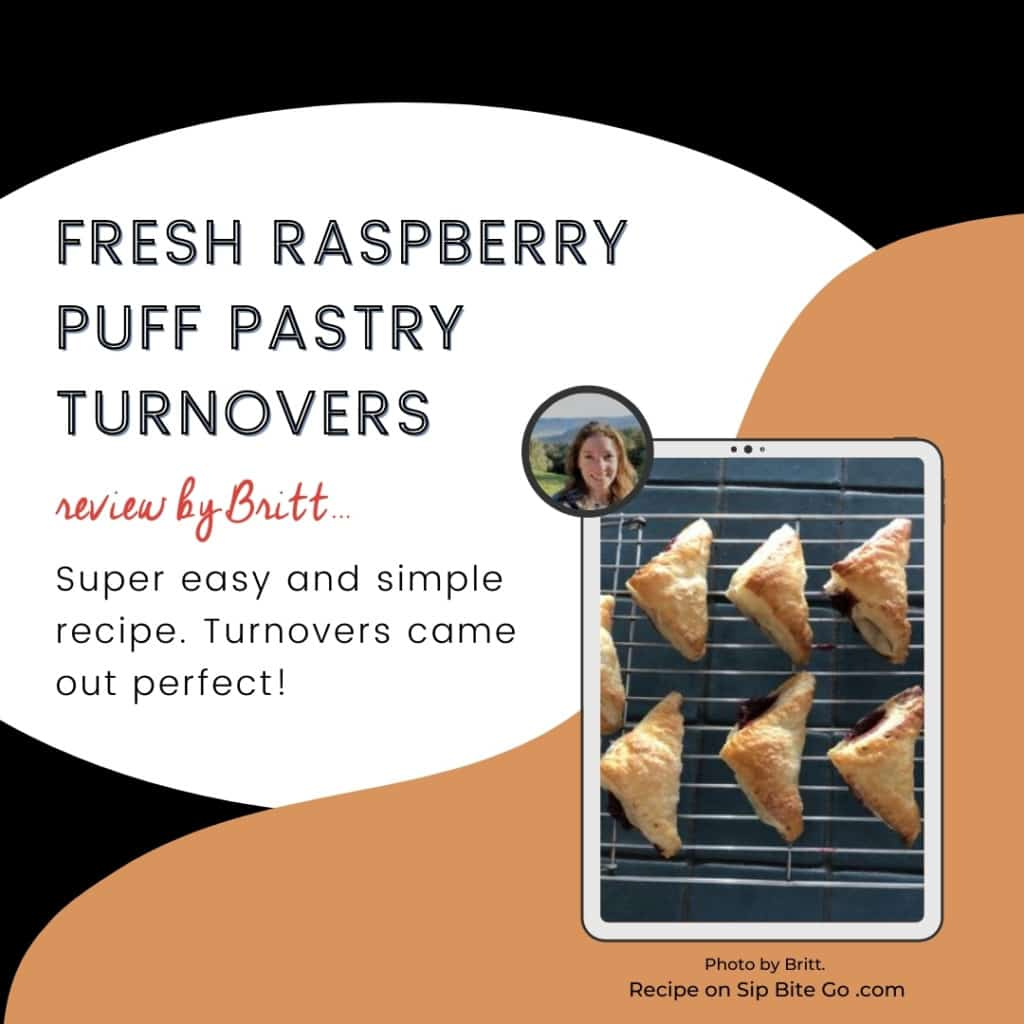 text and image recipe review raspberry puff pastry turnovers