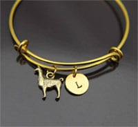 Stackable llama bracelet bangle with llama Charm by Etsy shop LeBuaJewelrytoo