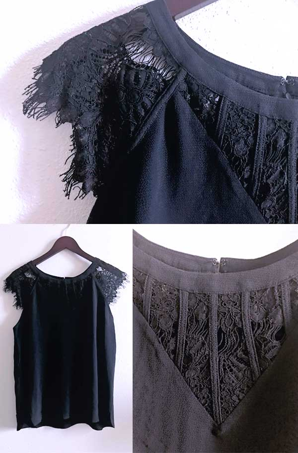 Spring Stitch Fix box opening 2018 - Truly Poppy - Jarred Lace cap sleeve black blouse with neck detail - a beautiful black blouse or dressy black shirt for date nights