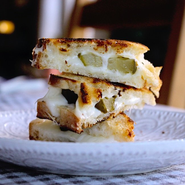 gourmet grilled cheese sandwich with pickles