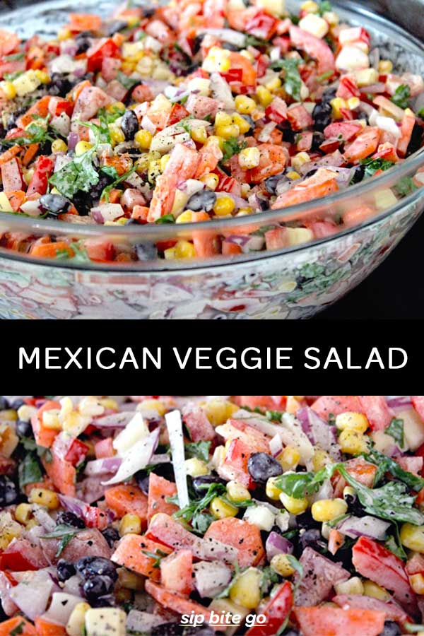 Make ahead Mexican salad with ranch dressing for a party or football appetizer