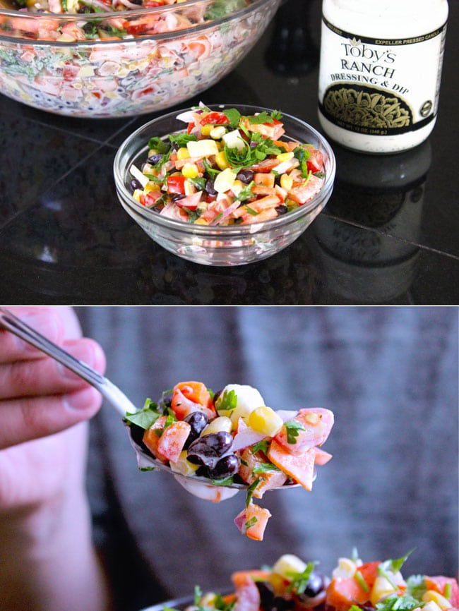 Two stacked images of Mexican corn salad in clear bowl and on a spoon