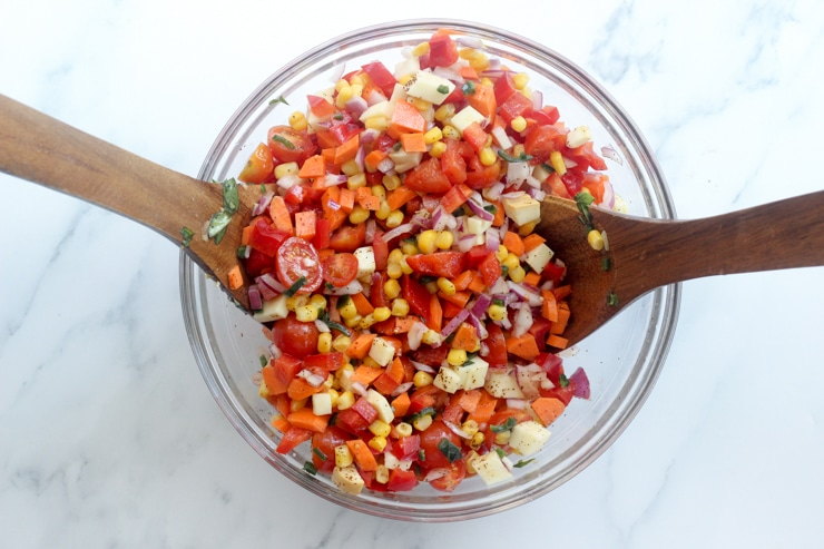 ingredients for mexican potluck dish in a bowl