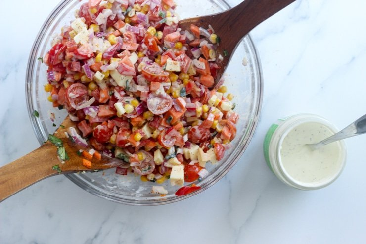 adding ranch dressing to the make ahead mexican salad