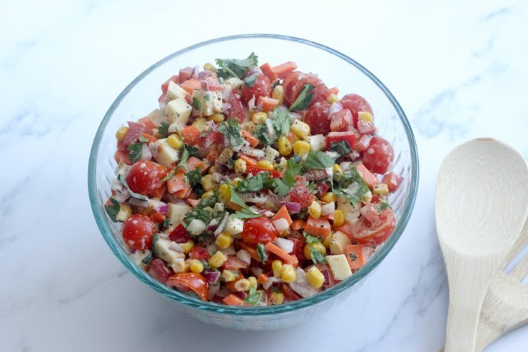 mexican corn salad side dish in a party bowl