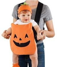 mom baby wearing halloween costume little pumpkin