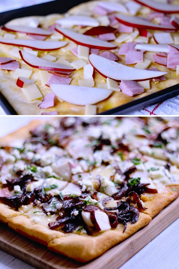 ingredients for a pear and goat cheese flatbread topped with caramelized onions, ham and cheddar