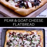 pear and goat cheese pizza flatbread topped with caramelized onions, ham and cheddar