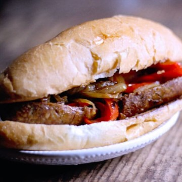 Slow cooked sausage with peppers and onions for sausage sandwiches