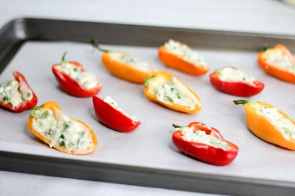 sweet peppers stuffed with goat cheese