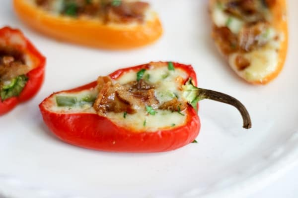 stuffed red pepper on an appetizer plate