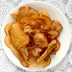 dried pear fruit chips in a white snack bowl