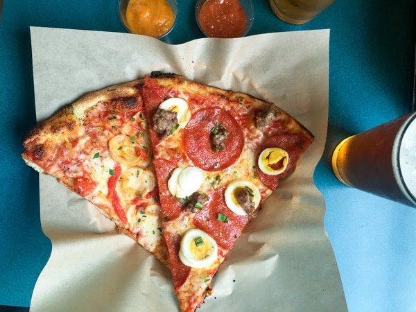 Hot Lips Pizza happy hour pizza special with egg and pepperoni