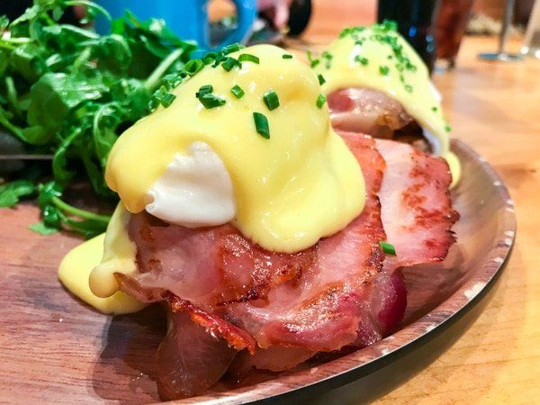 eggs benedict from the la luna menu served with Irish bacon
