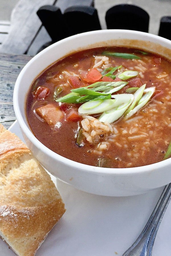 Lovejoy Bakers gumbo on an outside table
