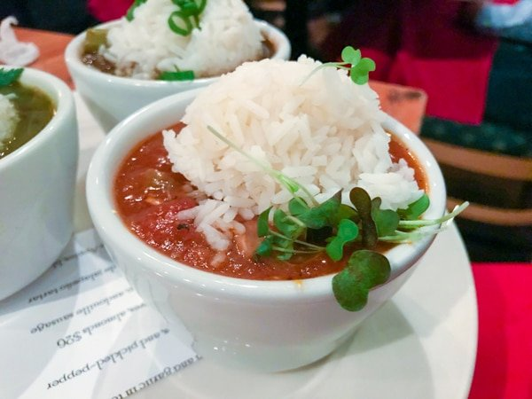 cup of Cajun gumbo at Acadia PDX during lunch