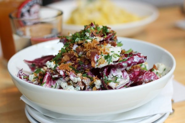 portland's grassa radicchio salad with bacon and bleu cheese