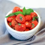 roasted cherry tomatoes with garlic and fresh basil