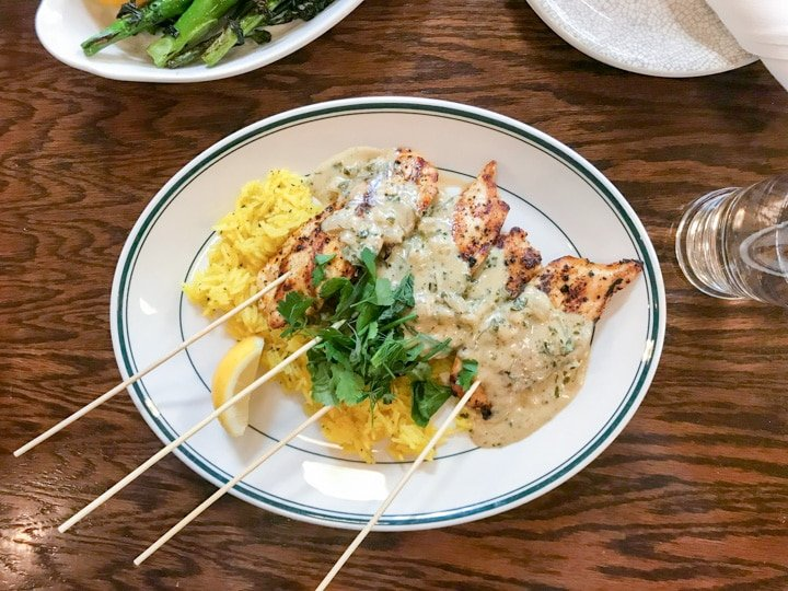 rosa rosa lunch menu chicken kebabs with saffron rice_7113