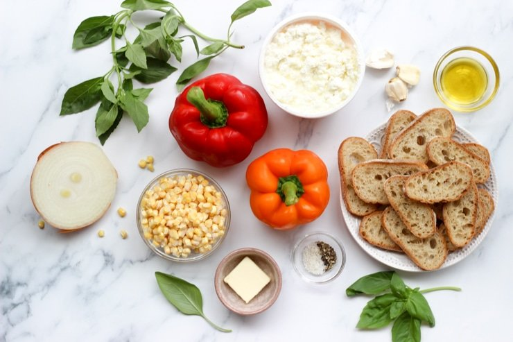 Ingredients for Whipped Ricotta Crostini on a kitchen counter