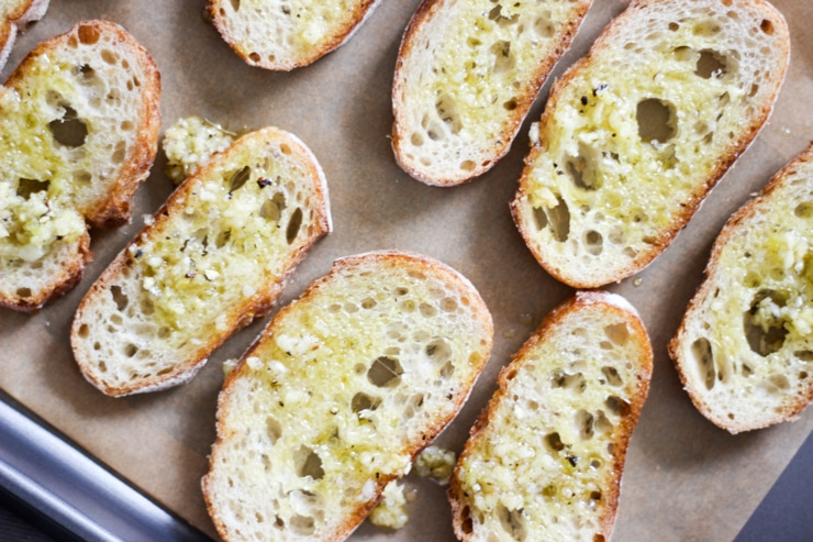 garlic toasts made from baguette slices
