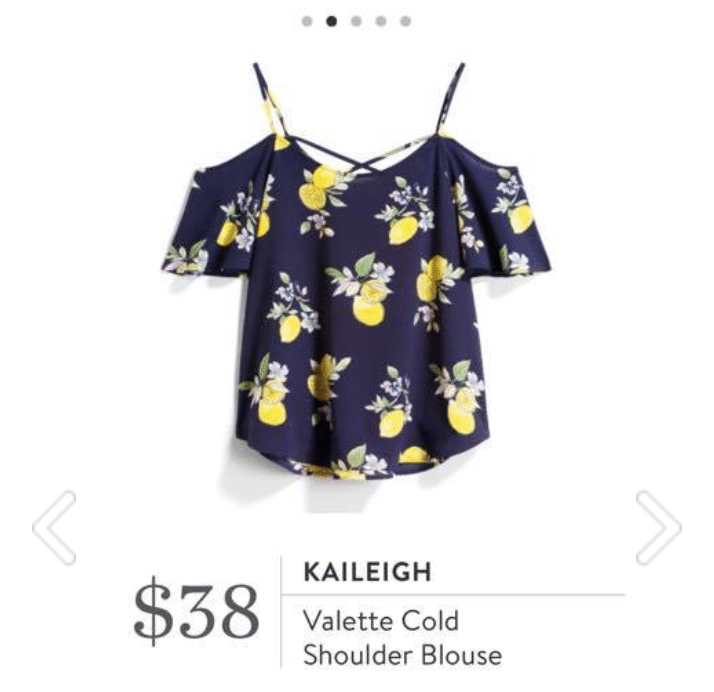 Kaileigh - Valette Cold Shoulder Blouse in floral and lemon pattern in navy and yellow