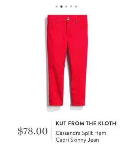 Kut From the Kloth - Cassandra split hem capri skinny jean in red