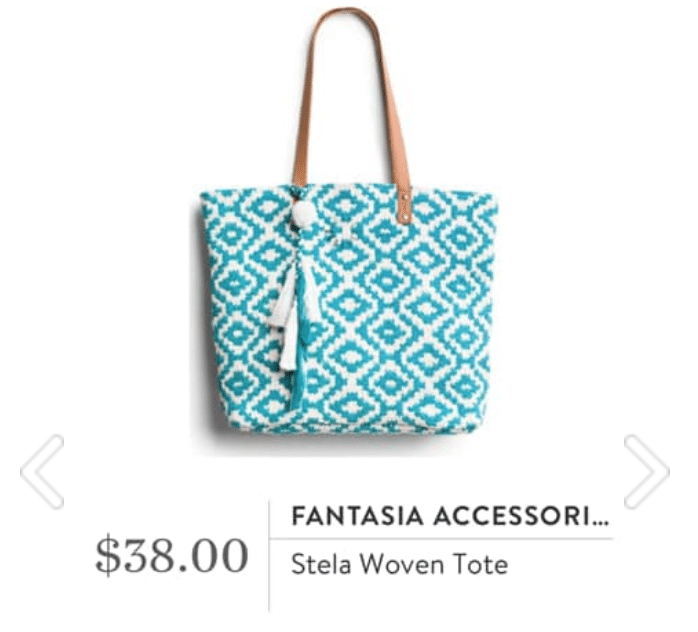 Stitch Fix Fantasia Accessories - Stela Woven Tote in teal and white