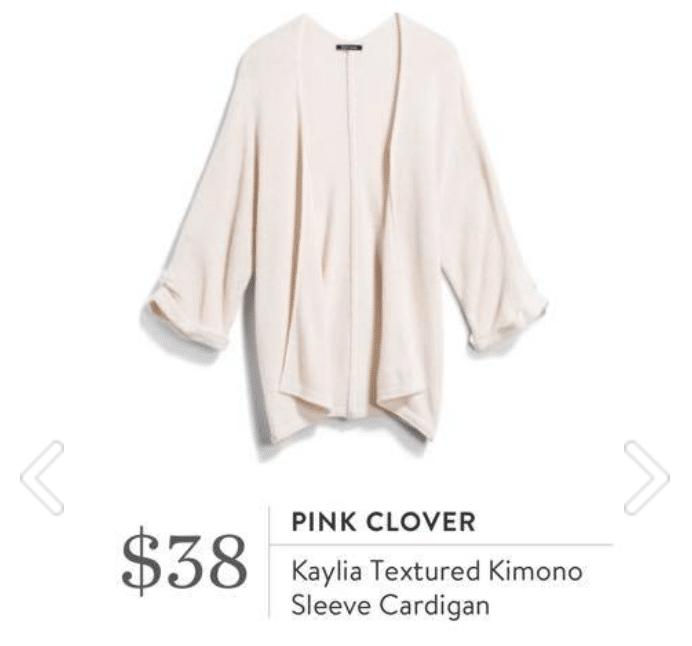 Stitch Fix Pink Clover - Kaylia Textured Kimono Sleeve Cardigan in white