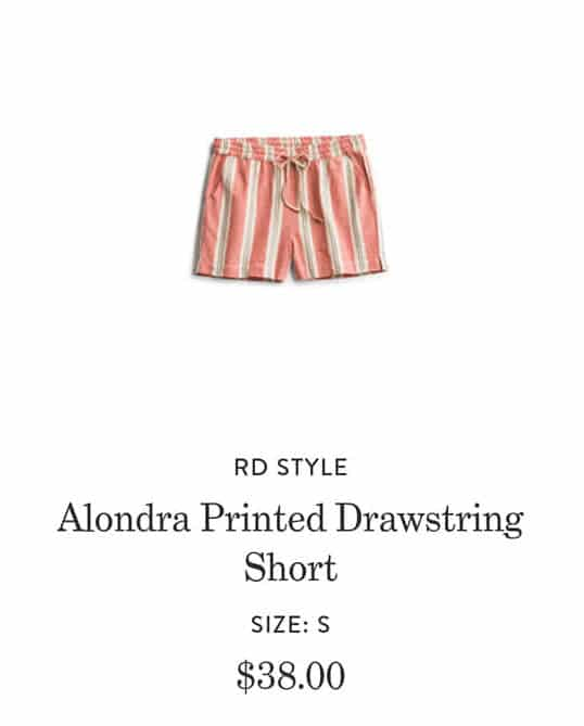 Summer Stitch Fix Outfits Review RD Style Alondra Printed Drawstring Shorts in Peach and Beige