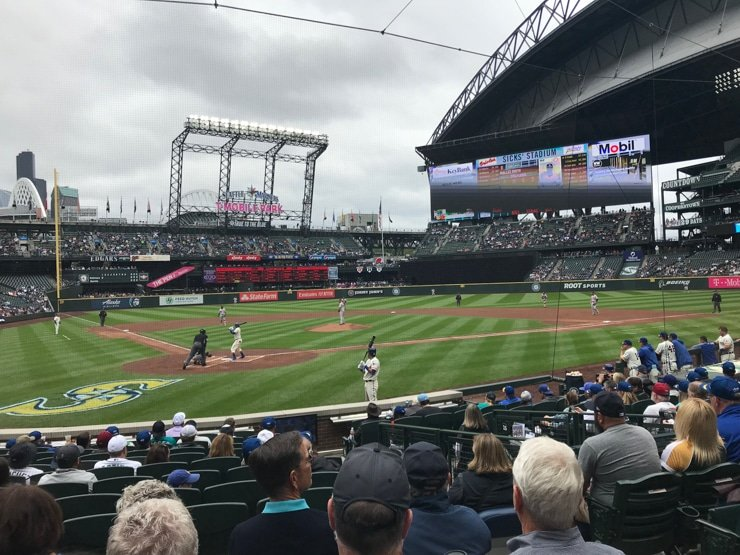 T Mobile Park in Seattle with Mariners Vs Orioles view from behind home plate
