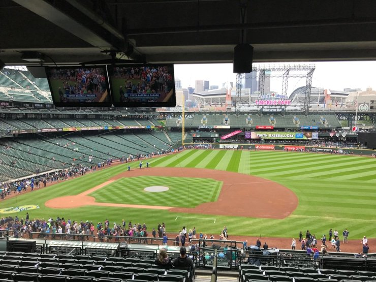 terrace club level seats at Seattle Mariners game with a baby
