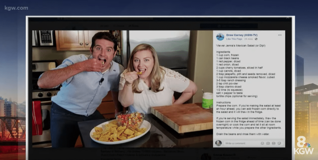 Featured recipes on KGW Portland pic with Drew Carney