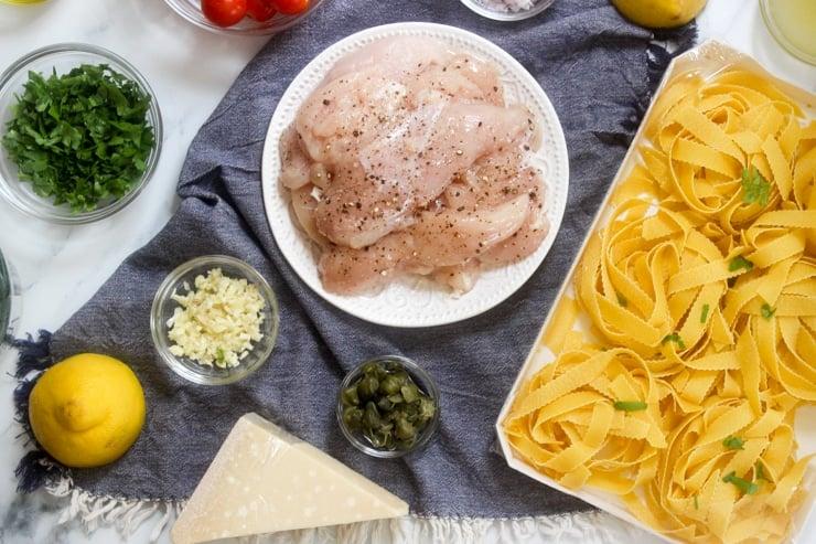 ingredients for chicken piccata pasta