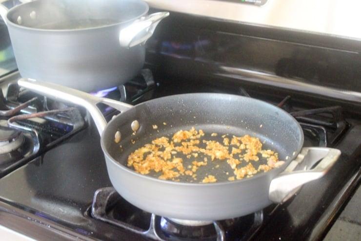 pan roasting garlic and shallots