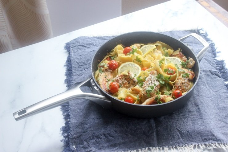 one pan chicken piccata pasta on a table